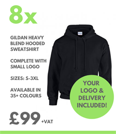 8 x Gildan Heavy Blend Hooded Sweatshirts