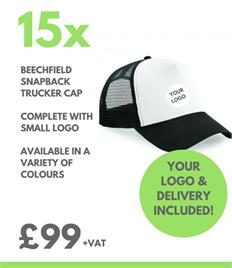 15 x Beechfield Snapback Trucker Cap