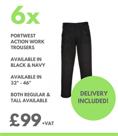 6 x Portwest Action Work Trousers